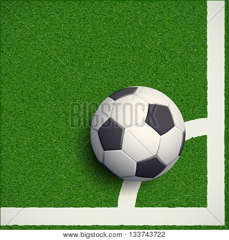 Soccer ball on grass. Football stadium. Stock vector illustration.