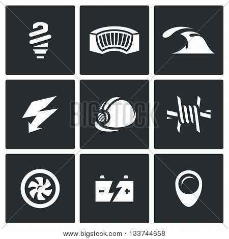 Electricity generation at the expense of water and hydropower work. Icons collection.