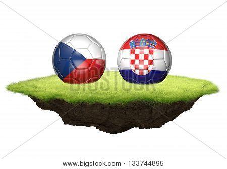 Czech Republic and Croatia team balls for football championship tournament, 3D rendering