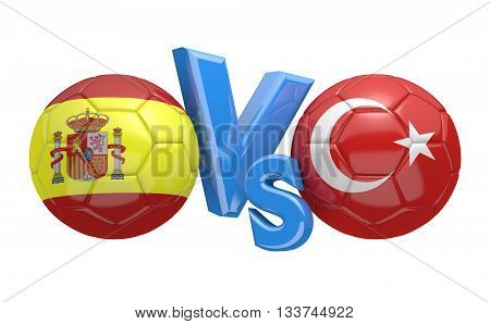 Football competition between national teams Spain and Turkey, 3D rendering