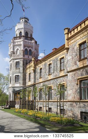 The walls of the castle of Sigulda, sunny day. Latvia