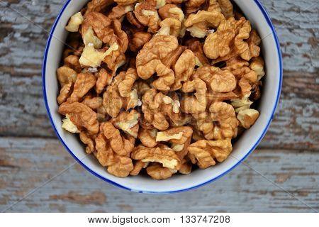 Walnuts Kernel On Blue Vintage Table Village Fall Harvest 3