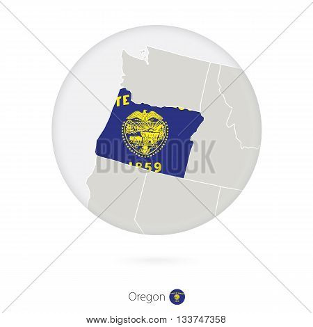 Map Of Oregon State And Flag In A Circle.