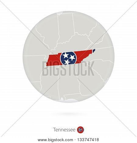 Map Of Tennessee State And Flag In A Circle.