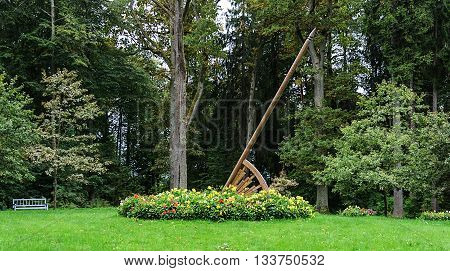 Sundial in park of the village Trigorskoye Pushkinskiye Gory Reserve Russia