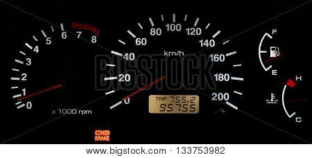 Horizontal isolated car speedometer no fuel panel background backdrop