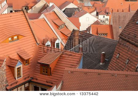 The roofs of the old town Meissen in the south-east of Germany near Saxonys capital Dresden. poster