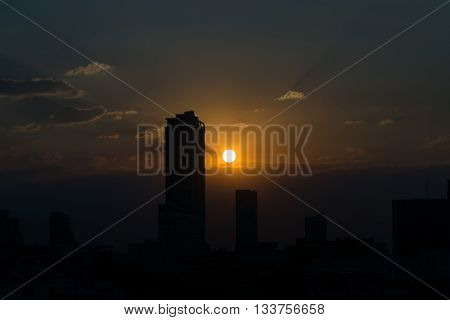 Sunset With Building