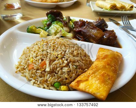 Chinese food combo menu in lunch time