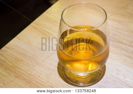Cold glass of alcoholic drink stock photo