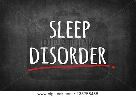 sleep disorder white word on black board background