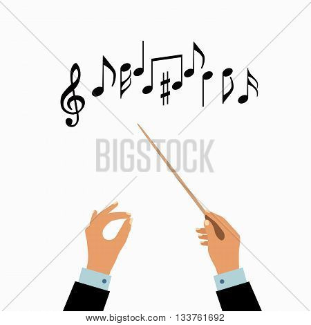 Conductor hands concept. Vector choir conductor music illustration. Concept of flat conductor orchestra hands. Colorful chorus conductor concept  for your design. Conductor music banton isolated.