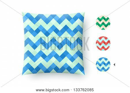 Seamless modern stylish abstract pattern. Blue repeating geometric zigzag mosaic on a turquoise background. For print on pillow in printshop. Pattern and graphic texture. Vector Illustration