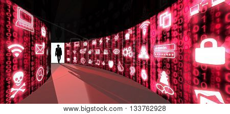 A silhouette of a hacker with a black hat in a suit enters a hallway with walls textured with red digital glowing security threat icons 3D illustration cybersecurity concept