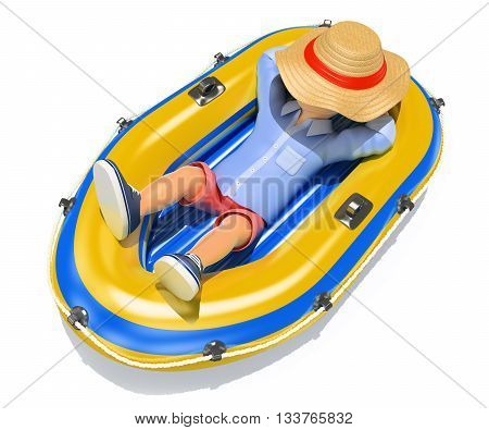 3d young people illustration. Man in shorts sleeping on an inflatable boat. Isolated white background.