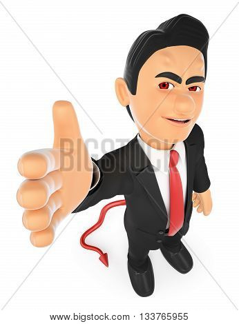 3d business people illustration. Businessman devil offering a deal. Pact. Isolated white background.