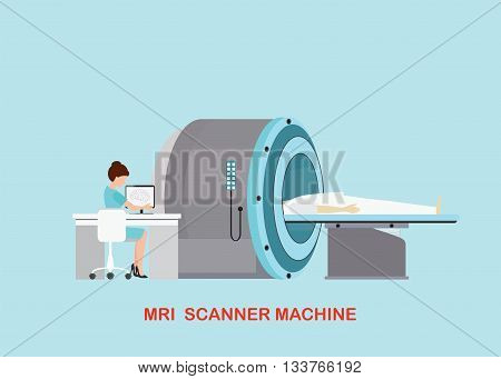 Doctor scanning mri patient with MRI scanner machine technology and diagnostics medical Health care Vector illustration.