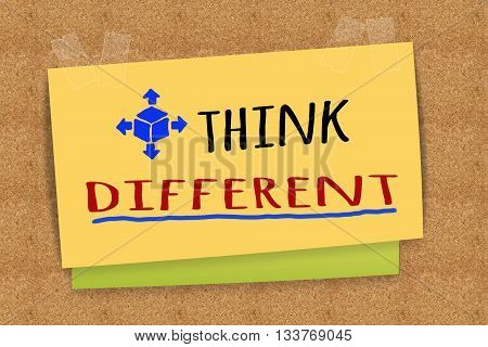 """""""Think Different"""" on sticky note for business concept"""