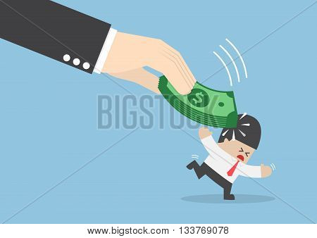 Big Hand Hit Businessman Head By Dollars Banknote