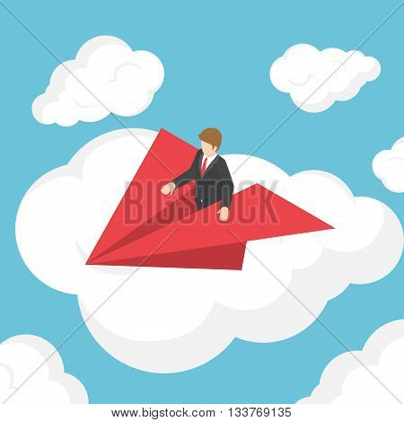 Isometric Businessman On Paper Airplane Above The Cloud