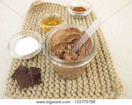 Homemade chocolate mask with yogurt and honey