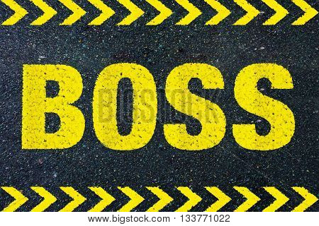 BOSS yellow word on street background business concept
