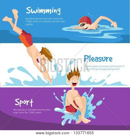 Vector illustration of Boys swims in the pool. Set of web banners with place for your text.