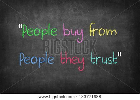 People buy from people they trust word