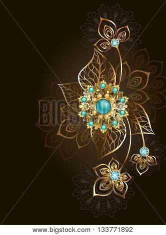 Jewelry gold jewelry made in oriental style decorated with turquoise on a dark brown background. Jewelry Design. Gold Jewelry. Oriental pattern. Boho Style.