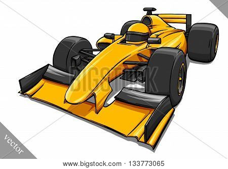 child's funny fast cartoon formula race car vector illustration