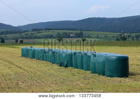 Animal feed from grass silage at a meadow