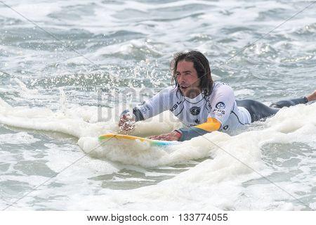 GAIA PORTUGAL - JUNE 10, 2016: Daniel Gil (ARG) at LQS Longboard Pro Gaia Men's Longboard Tour #3.