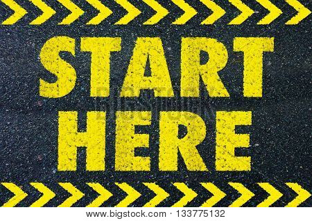 Start here yellow word on road background