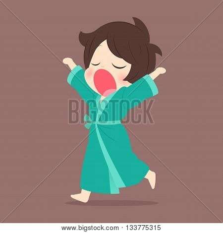 Young woman yawning, Cartoon vector, illustration, Sleepy