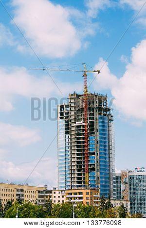 Minsk, Belarus - August 17, 2012: Skyscraper Construction On Pobediteley Avenue In Center Of Minsk, Belarus