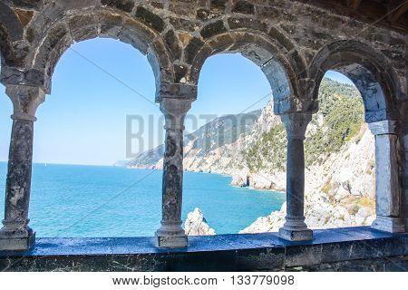 rare view of portovenere cliff in italy