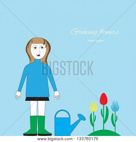Woman with watering can standing near a flower bed. Cultivation of flowers floriculture vector illustration. Figure gardening by hand isolated.