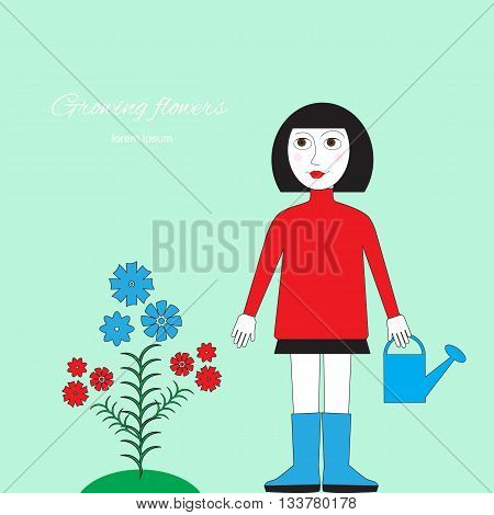 Woman with watering can standing near a flower bed. Cultivation of flowers floriculture illustration. Figure gardening by hand isolated.