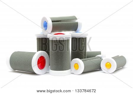 Electric heated hair rollers isolated on white background