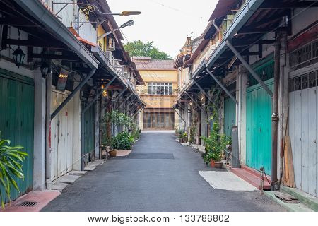 MALACCA MALAYSIA - FEBRUARY 29: Morning view of chinatown neighborhood on February 29 2016 in Malacca Malaysia. Malacca was listed as a UNESCO World Heritage City in July 2008.