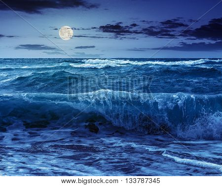 Huge Sea ​​waves Running On Sandy Beach At Night