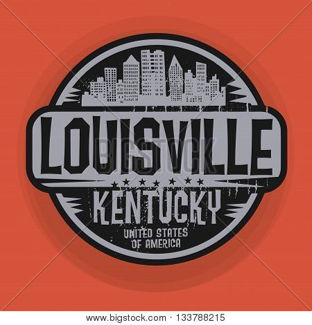 Stamp or label with name of Louisville, Kentucky, vector illustration
