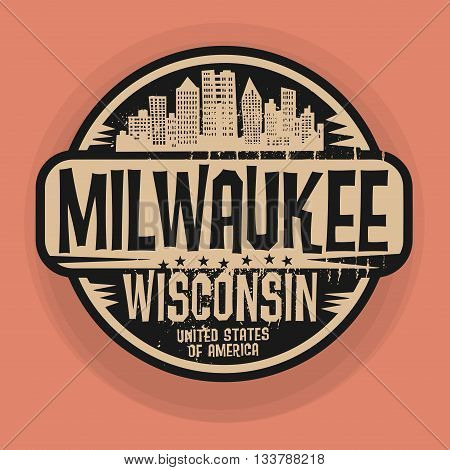 Stamp or label with name of Milwaukee, Wisconsin, vector illustration