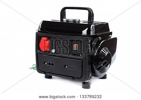 Portable fuel electric generator isolated on white background.