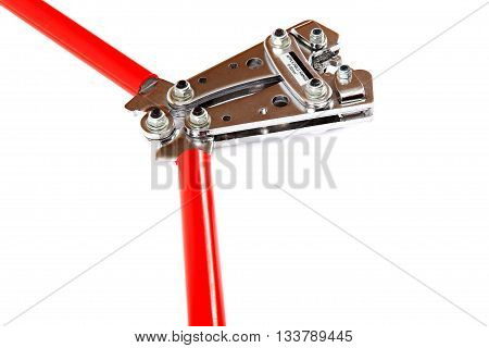 Tool for crimping electrical cables isolated on white background.