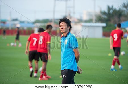 Huahin Thailand-feb6,2016 : Dusit Chaleamsean Head Coach Of Prachuap Fc  In Action During Friendly M