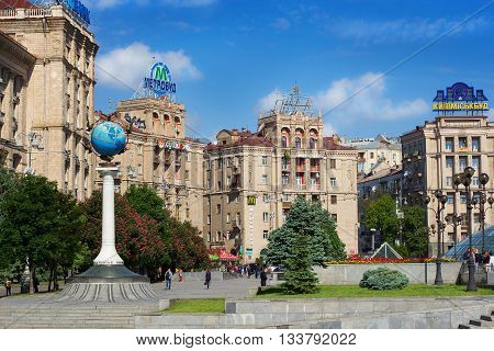 KIEV UKRAINE - MAY 16 2016: Independence Square in Kiev - one of the most popular places where people like to meet Ukraine