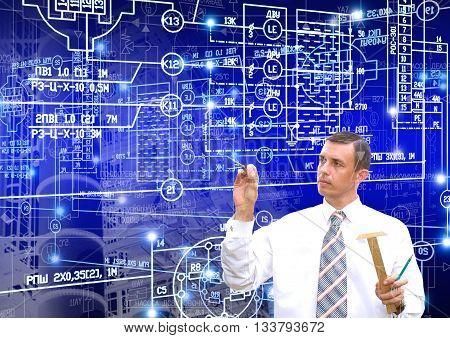 Industrial engineering technology,Engineer designer with engineering scheme