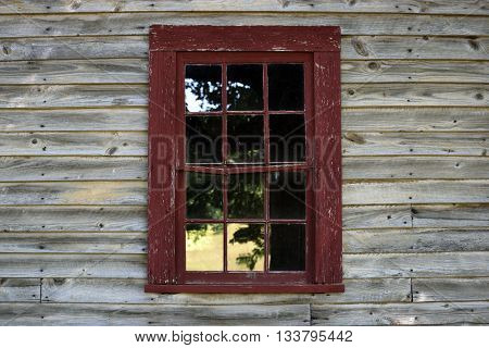 Vintage window and wooden wall background exterior