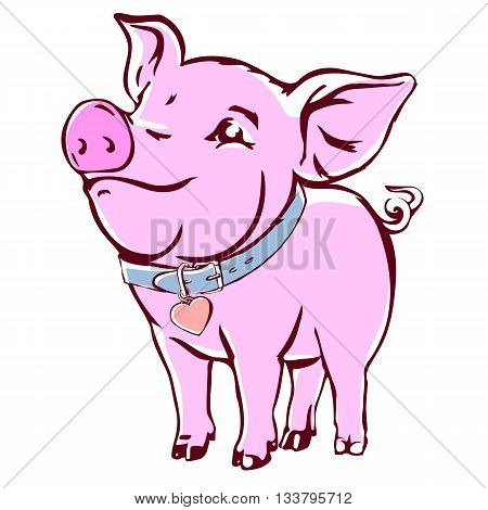 Happy baby pig with collar. Joyful young swine colorful vector sketch isolated on white.